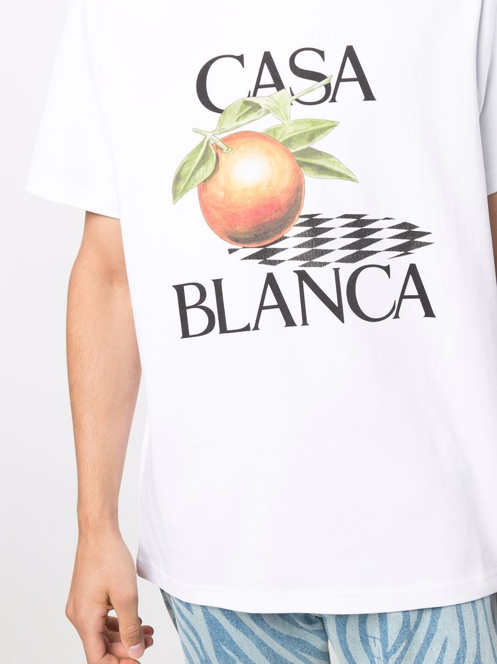 t-shirt white orange uomo bianca in cotone CASABLANCA | T-shirt | MF21-TS-001WHITE ORANGE