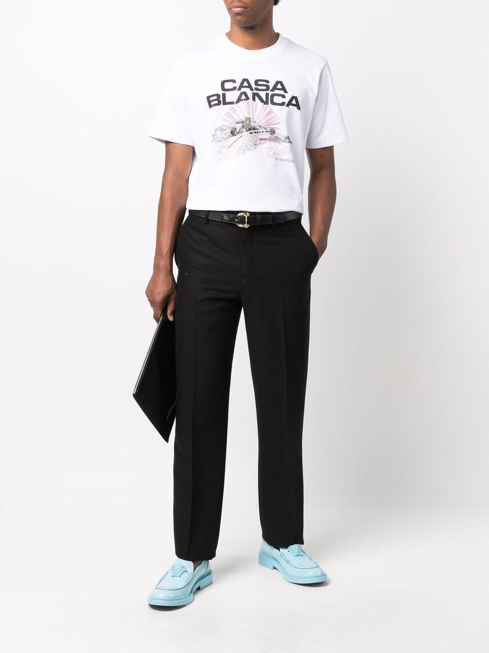 t-shirt racing shell uomo bianca in cotone CASABLANCA | T-shirt | MF21-TS-001WHITE RACING SHELL