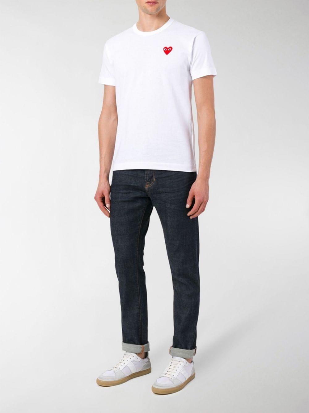 t-shirt play uomo bianca in cotone COMME DES GARÇONS PLAY | T-shirt | P1T1082