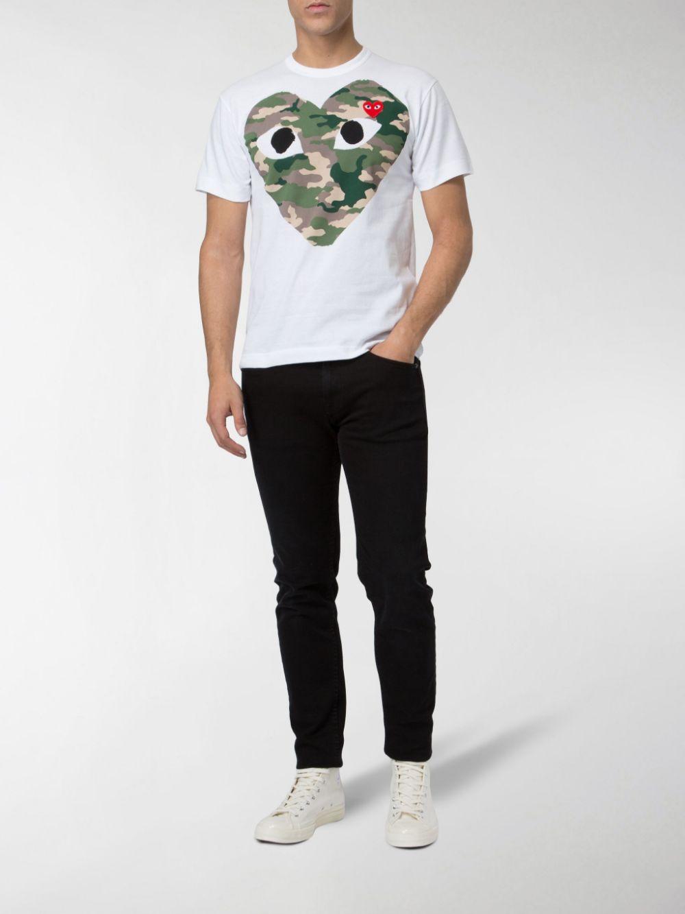 printed t-shirt man white in cotton COMME DES GARÇONS PLAY | T-shirts | P1T2421
