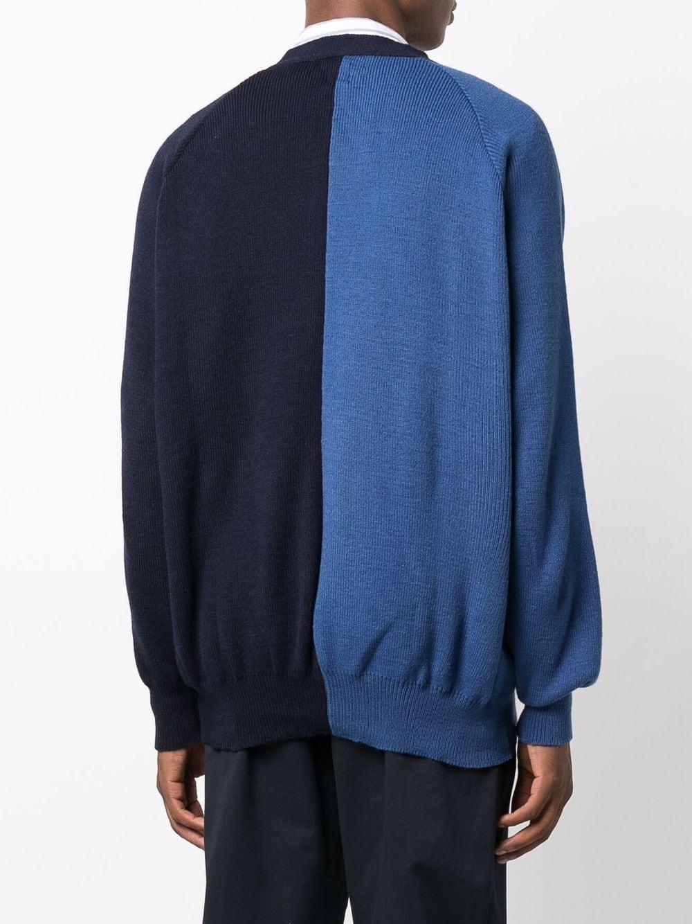 bicolor cardigan man blue navy in acrylic COMME DES GARÇONS SHIRT   Sweaters   FH-N501-W211