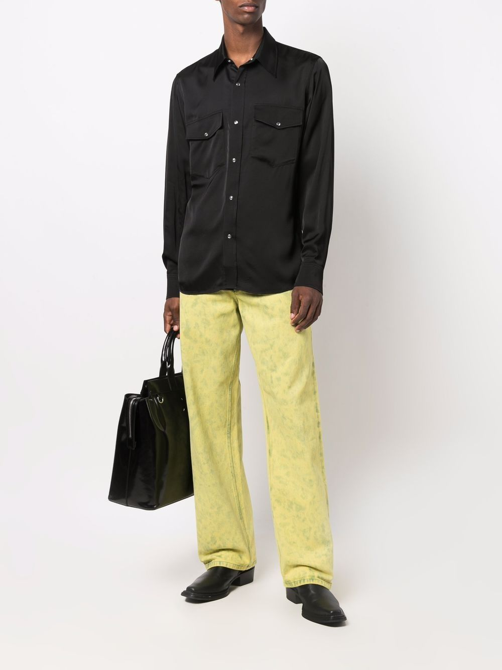 curnes shirt man black in viscose DRIES VAN NOTEN   Shirts   CURNES 3159900