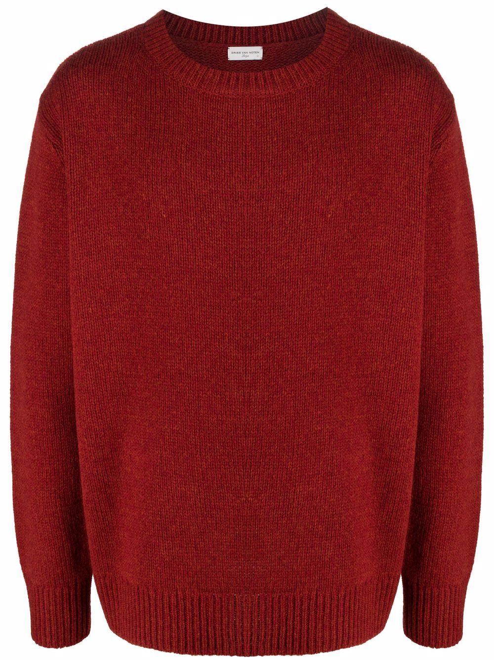 maglione tahir uomo rosso in lana d'agnello DRIES VAN NOTEN   Maglieria   TAHIR 3704360