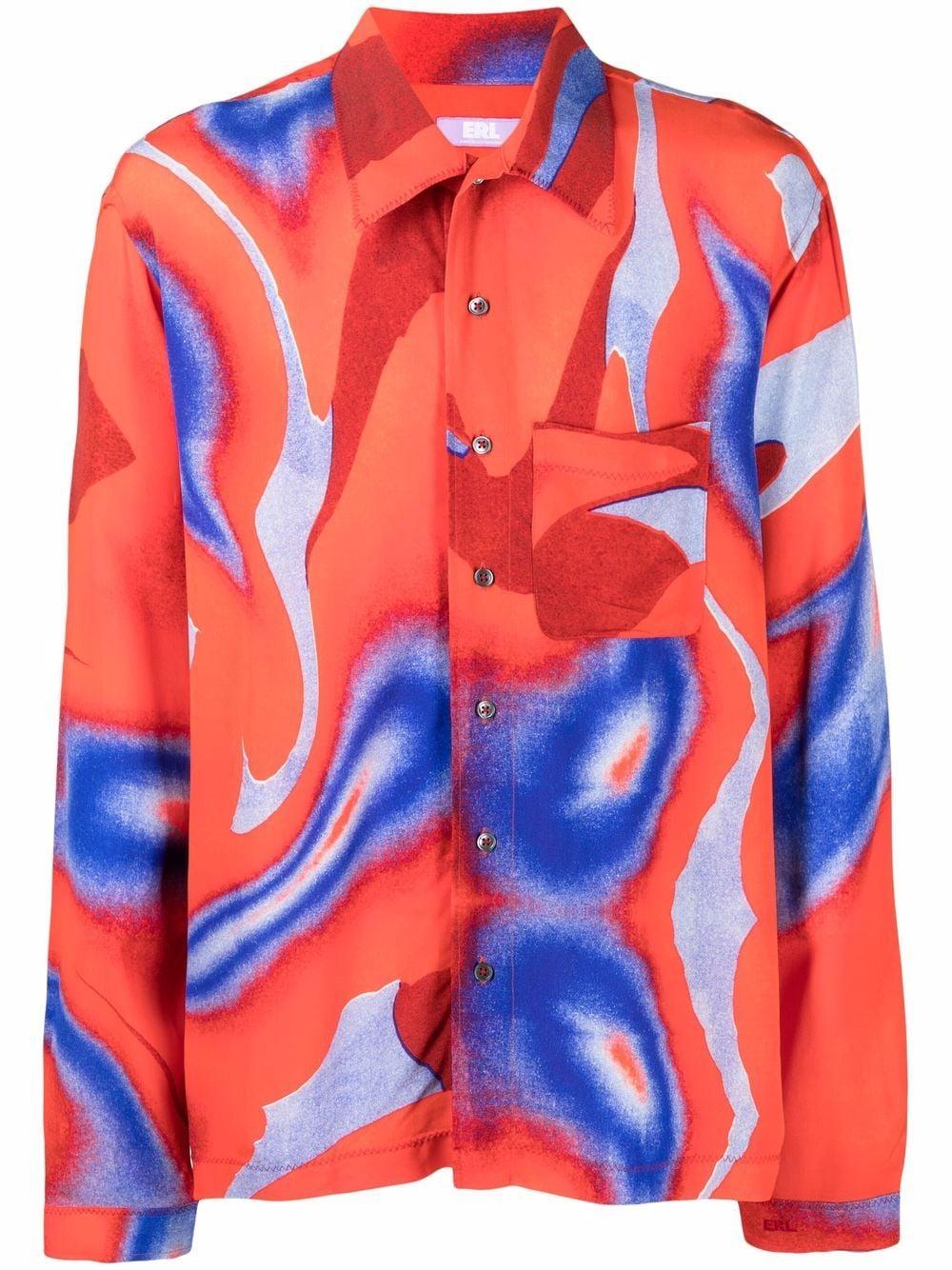 camicia con stampa uomo blu in viscosa ERL   Camicie   ERL03B0031