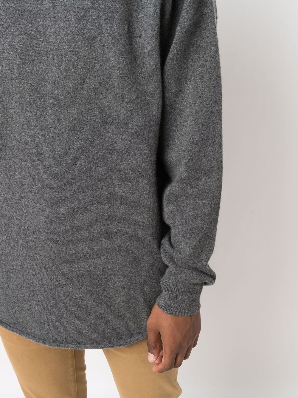 sweater with turn up man gray in cashmere EXTREME CASHMERE   Sweaters   05309801FE01FELT