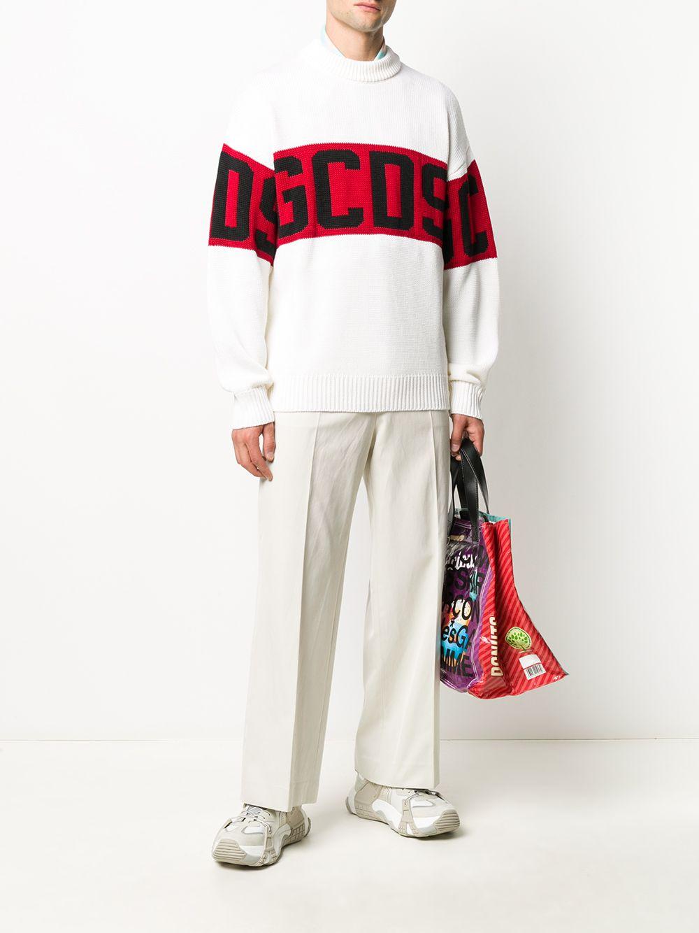 logo sweater man white wool GCDS | Sweaters | CC94M02115001