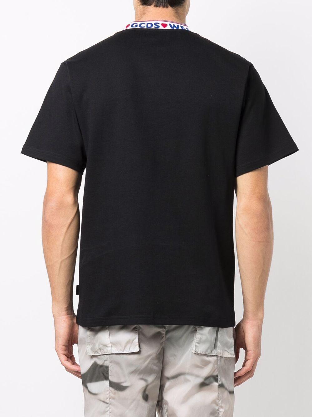 collar t-shirt man black in cotton GCDS   T-shirts   CC94M02150402