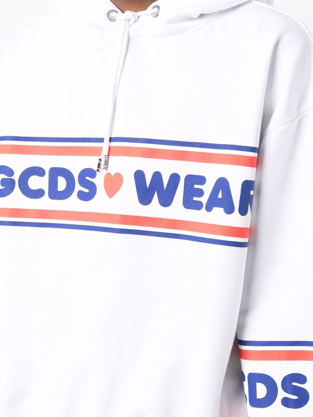 felpa con stampa uomo bianca in cotone GCDS | Felpe | CC94M02150501