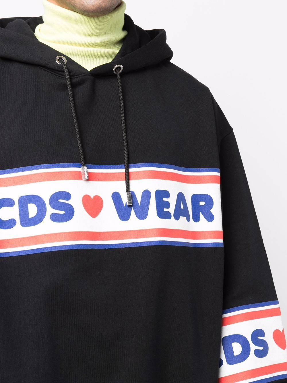 logo hoodie man black in cotton GCDS | Sweatshirts | CC94M02150502