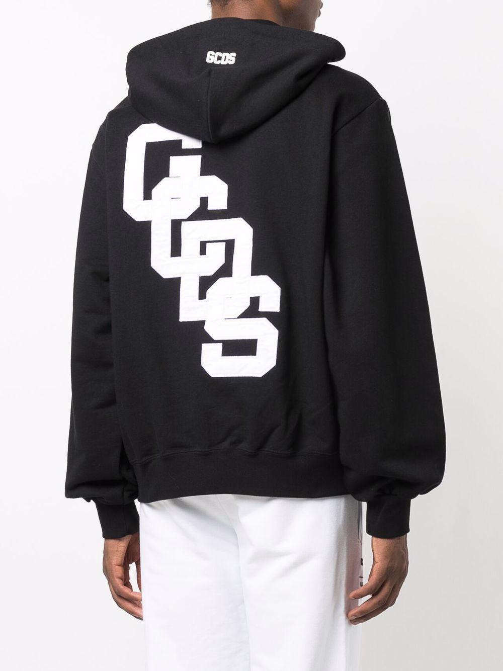 felpa college logo uomo nera in cotone GCDS | Felpe | CC94M02151002