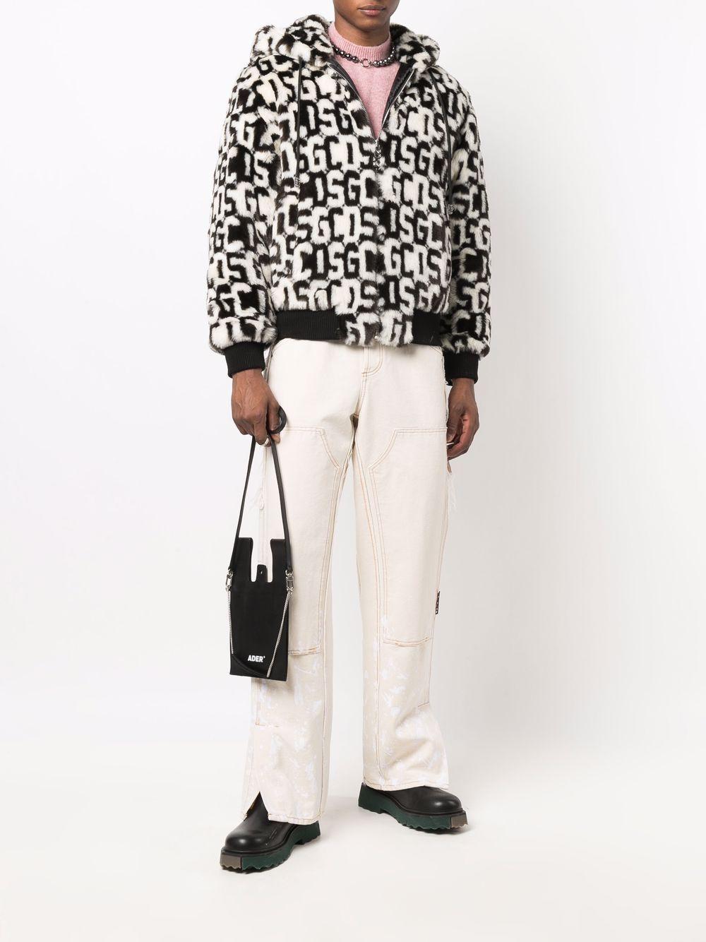 fur hoodie man black and white GCDS | Jackets | FW22M04010902