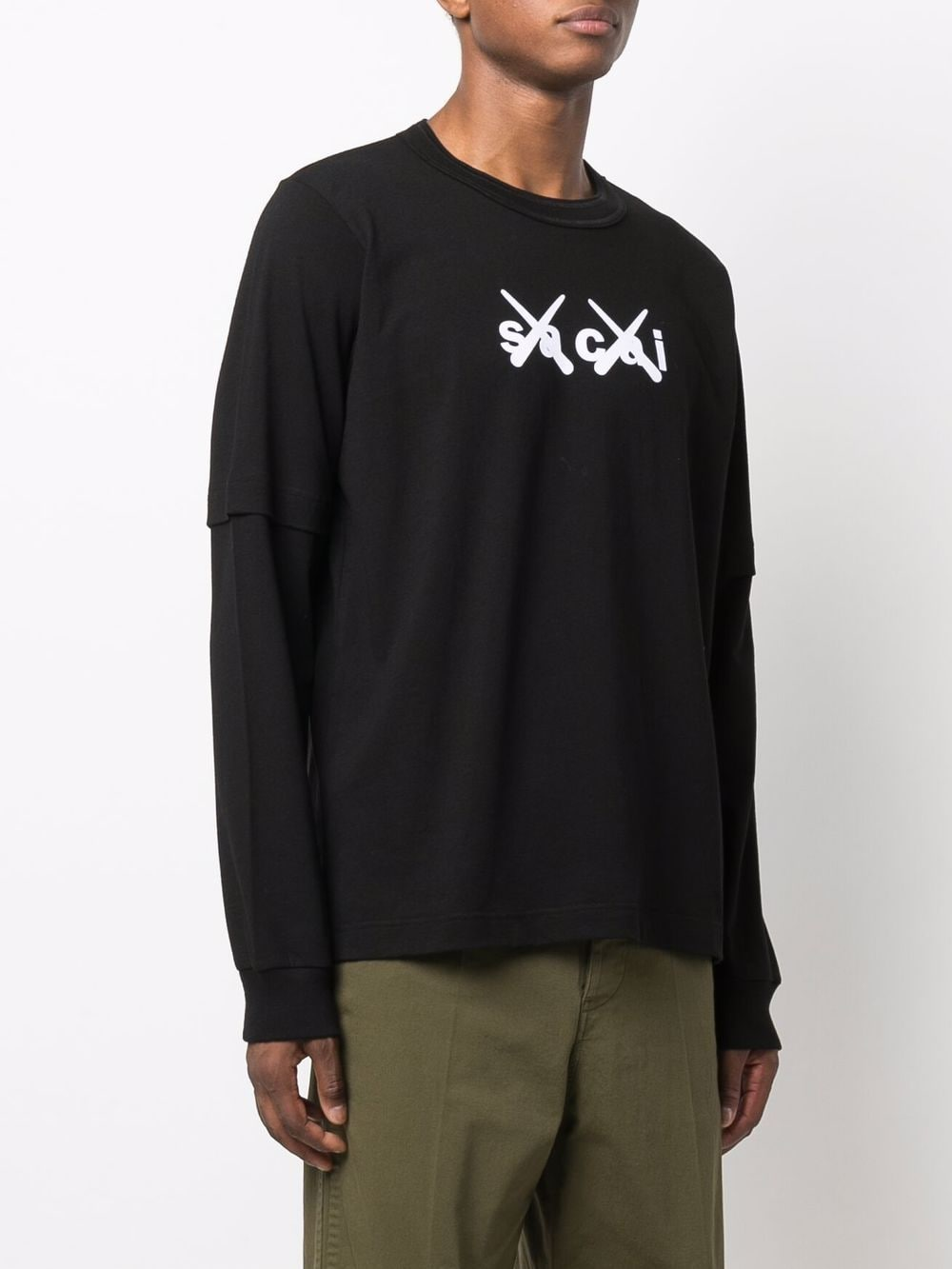 logo t-shirt man black in cotton KAWS X SACAI | T-shirts | 21-0287S003