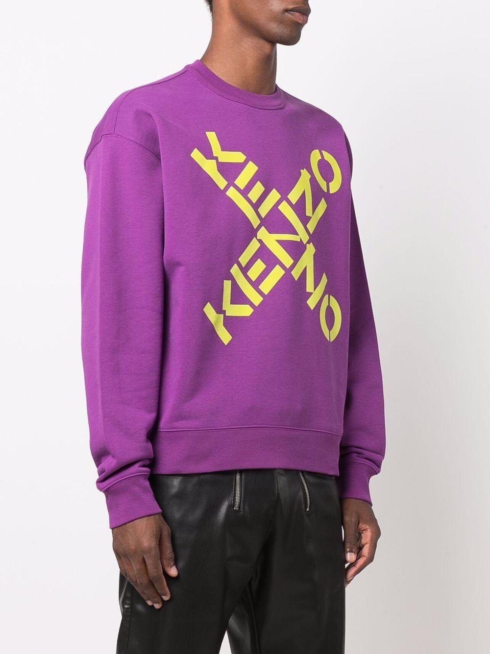 felpa con logo uomo viola in cotone KENZO | Felpe | FA65SW5214MS83
