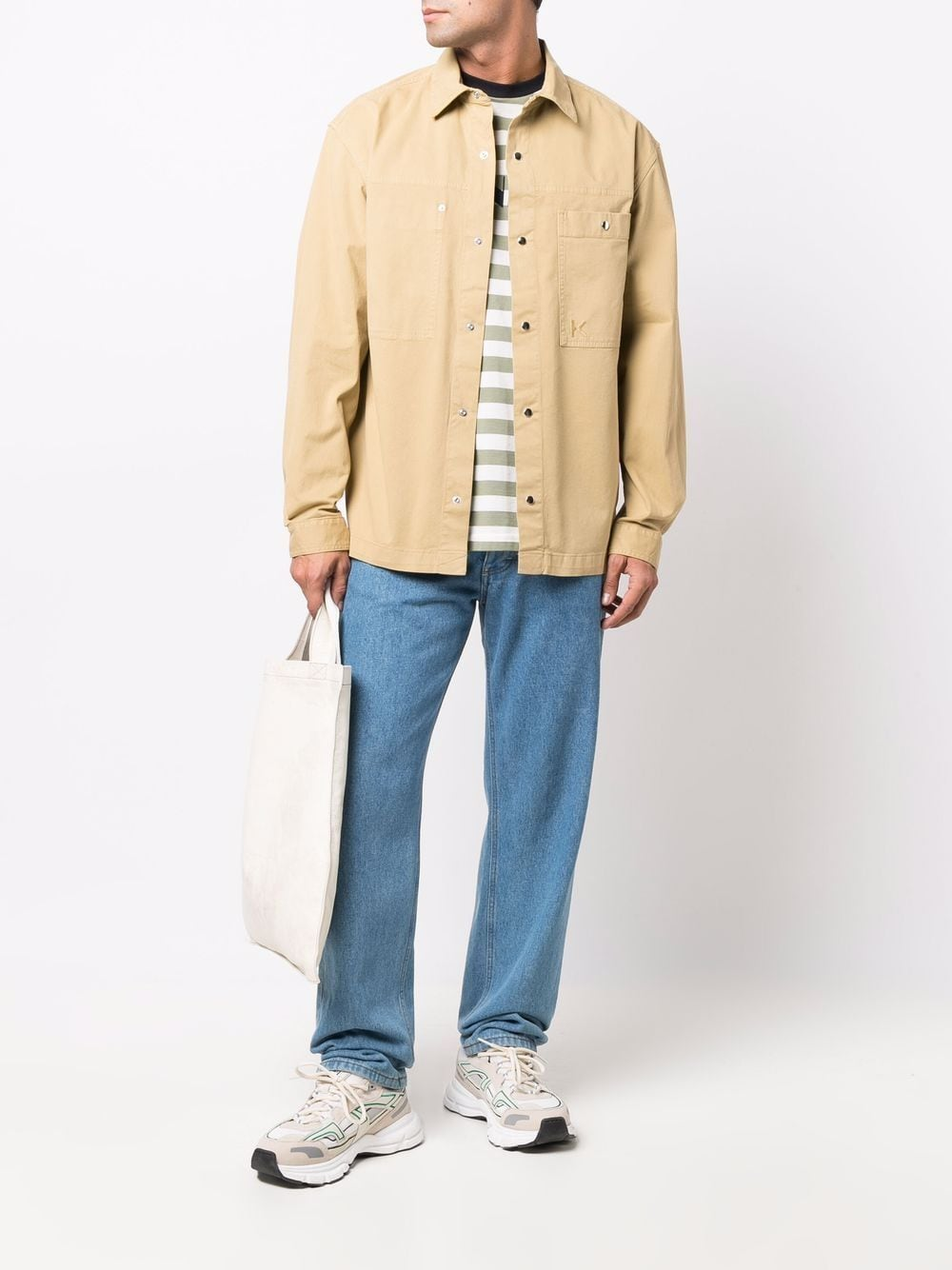 shirt with automatic buttons man beige in cotton KENZO | Shirts | FB65CH5151TA08