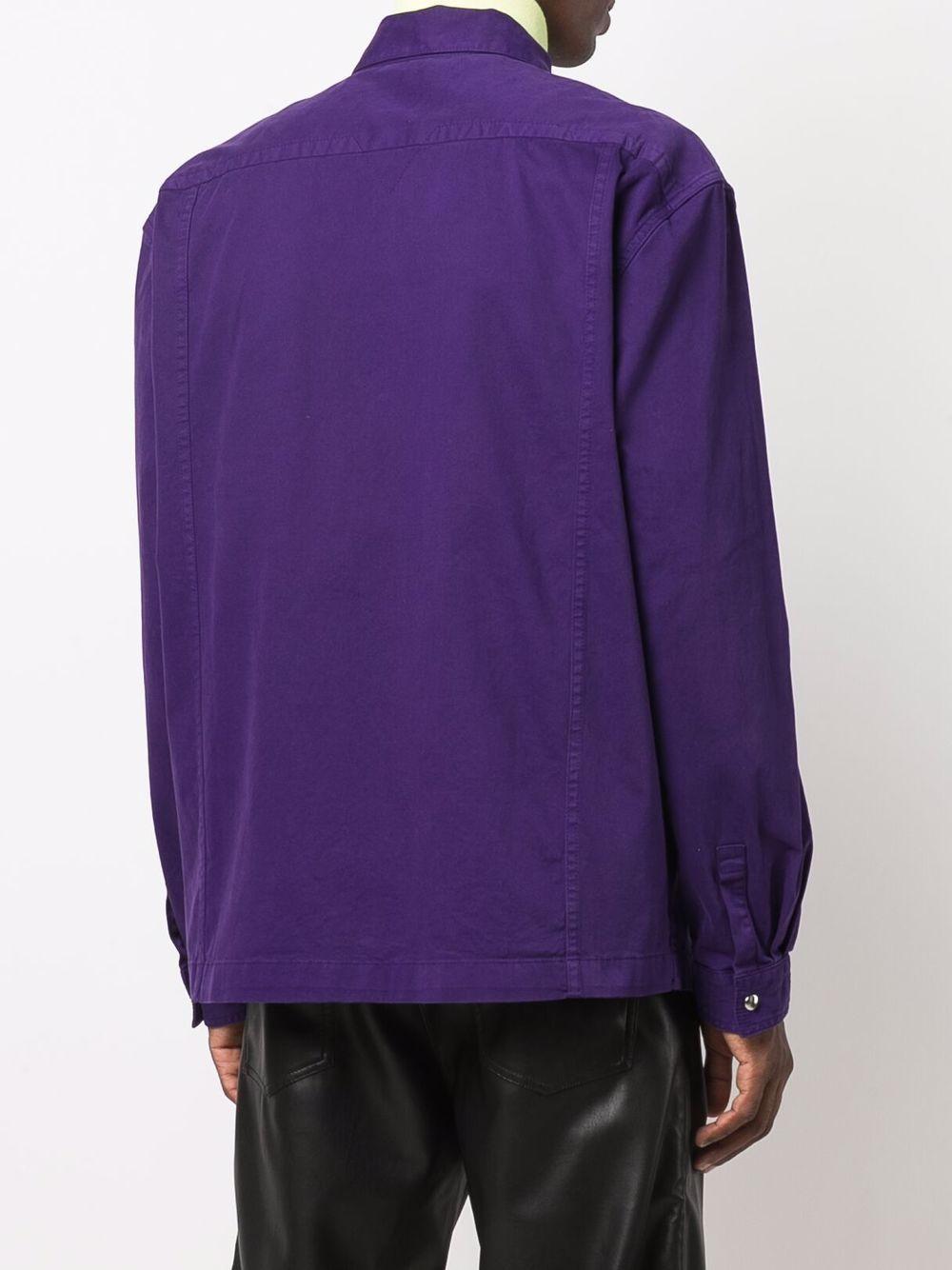 camicia con ricamo uomo viola in cotone KENZO | Camicie | FB65CH5151TA80