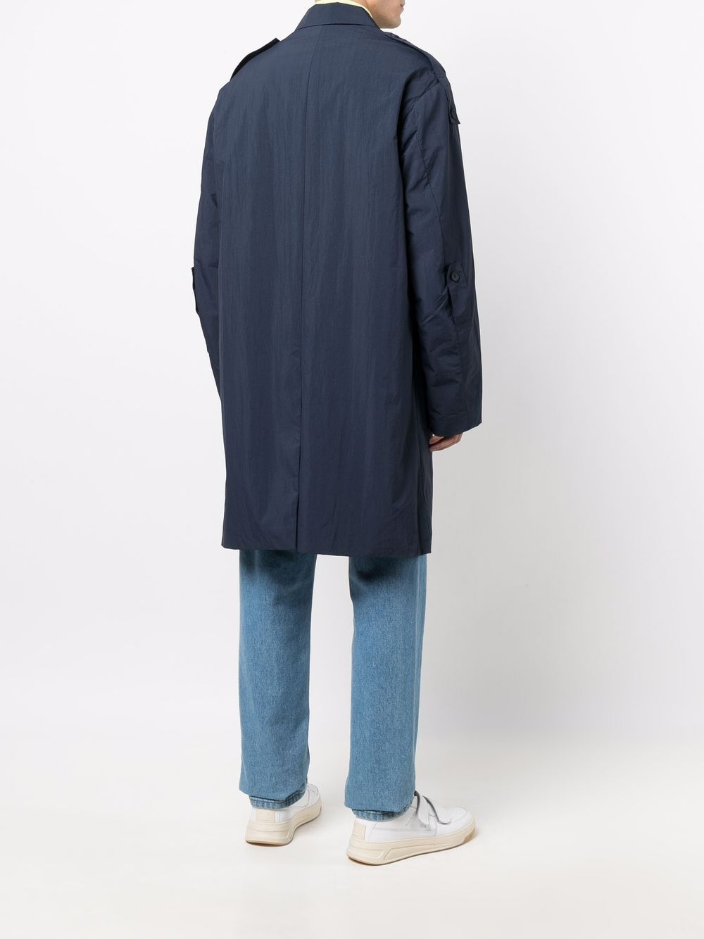 trench with embroidered logo man blue in nylon KENZO   Jackets   FB65MA0151NP79