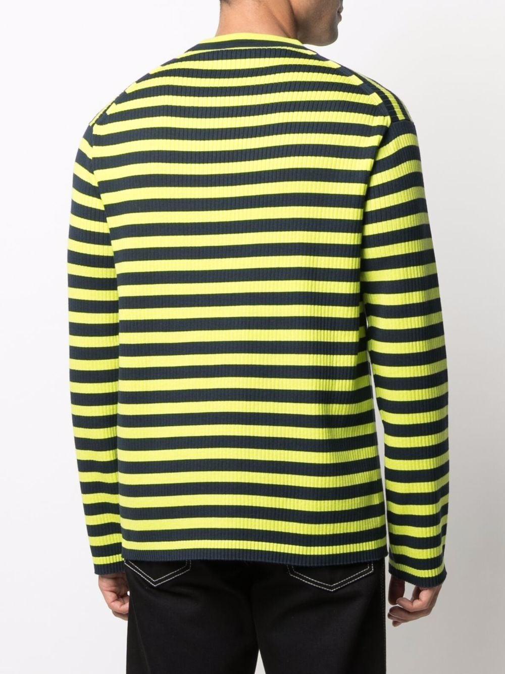 Striped sweater Yellow in Cotton Man KENZO   Sweaters   FB65PU6223CB45