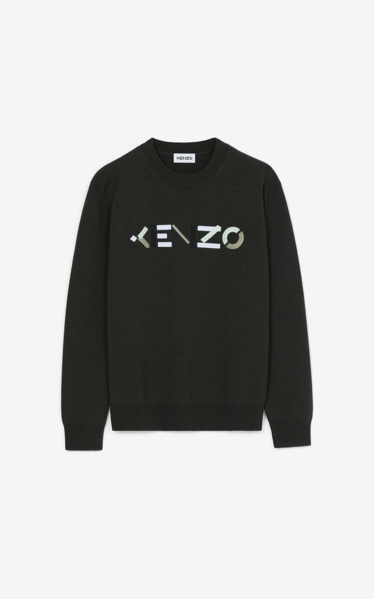 maglione con logo uomo ardesia in lana KENZO | Maglieria | FB65PU6393LA97