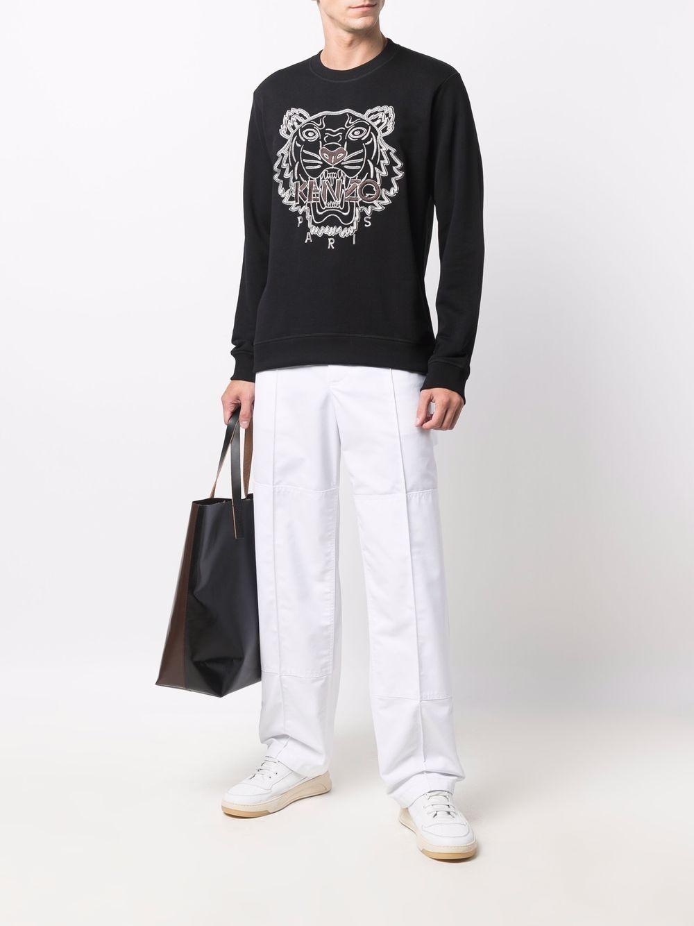 sweatshirt with embroidery man black in cotton KENZO | Sweatshirts | FB65SW1244XF99