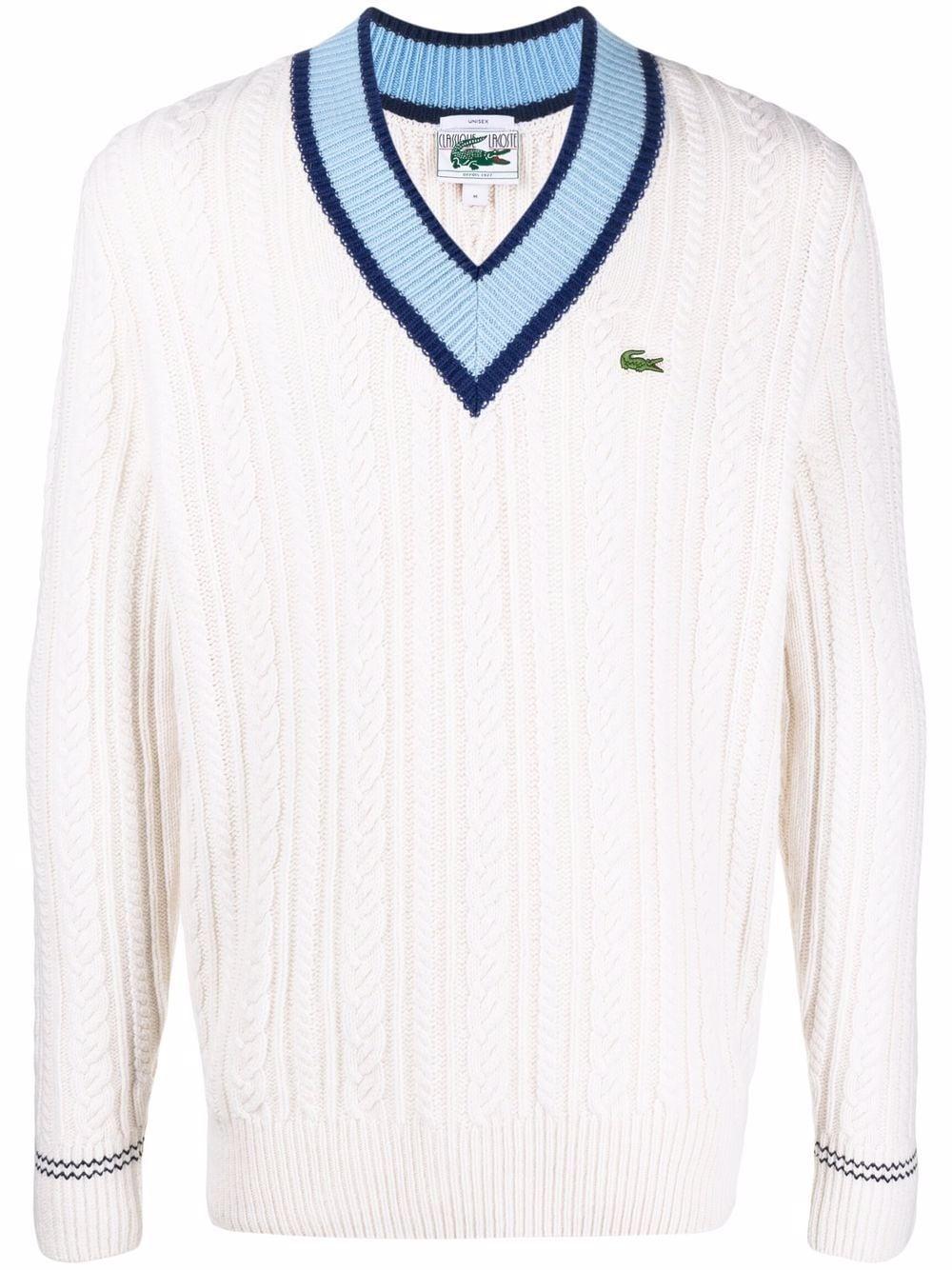 maglione scollo a v unisex bianco in lana LACOSTE   Maglieria   AH8021S4W