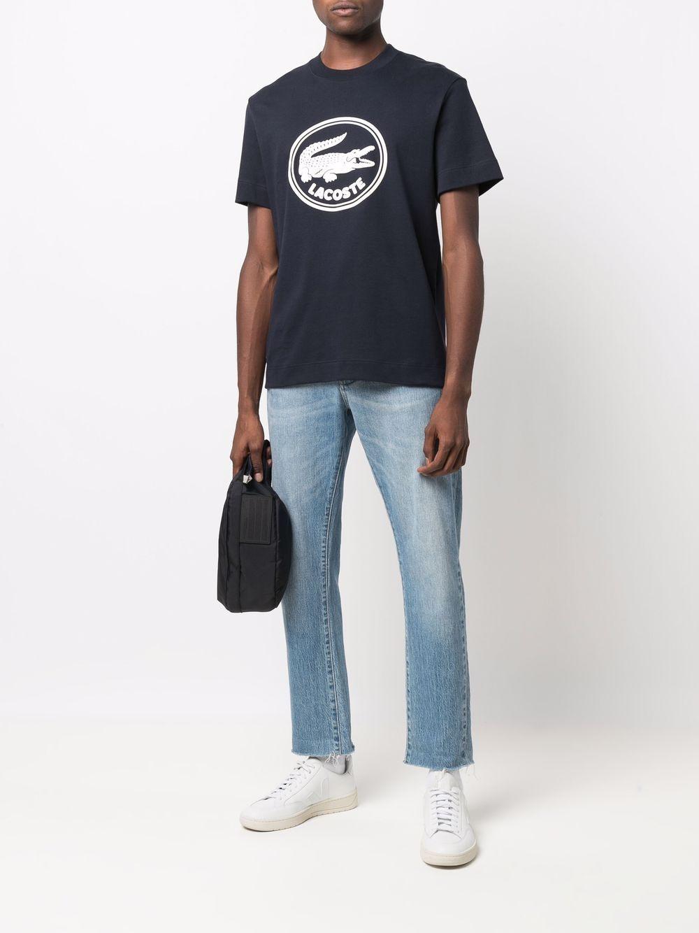 t-shirt con logo uomo blu in cotone LACOSTE   T-shirt   TH7086HDE