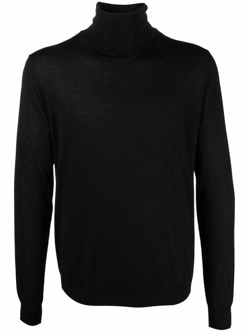 turtleneck sweater man black in wool LANVIN | Sweaters | RM-PO0041-K201-A2110