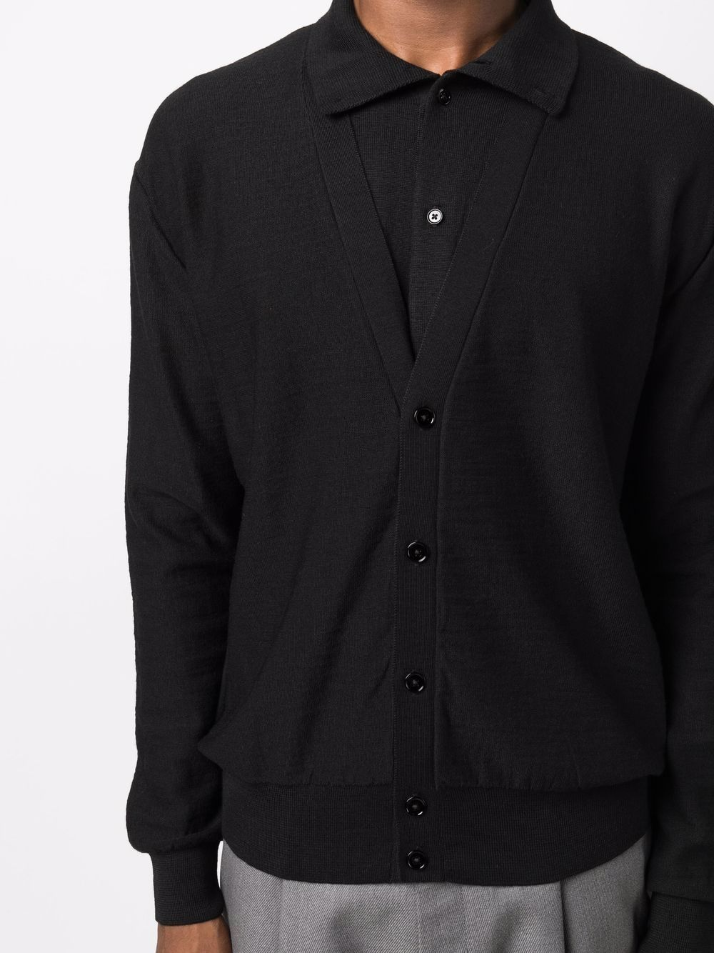 double layer cardigan man black LEMAIRE | Sweaters | M 213 KN319 LK087999