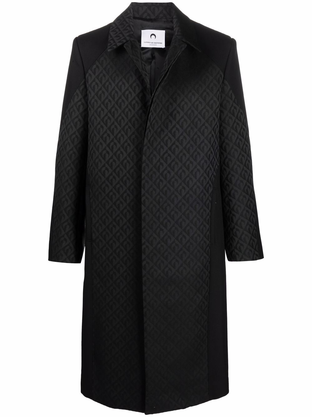 coat with jacquard pattern man black MARINE SERRE | Coats | C033FW21M00