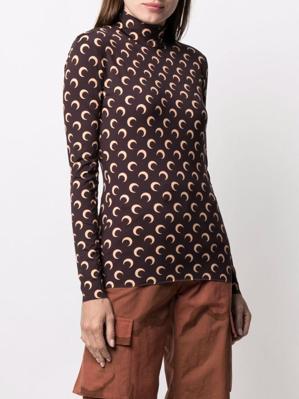 t-shirt con stampa donna marrone MARINE SERRE | T-shirt | T088ICONM08