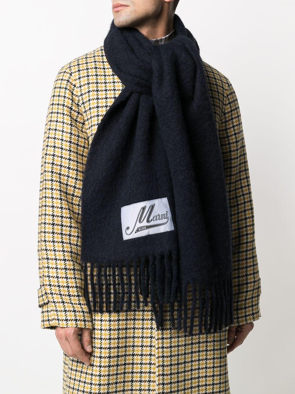 sciarpa con logo unisex nero in alpaco MARNI | Sciarpe | ASZC0005A0UTW91800B99