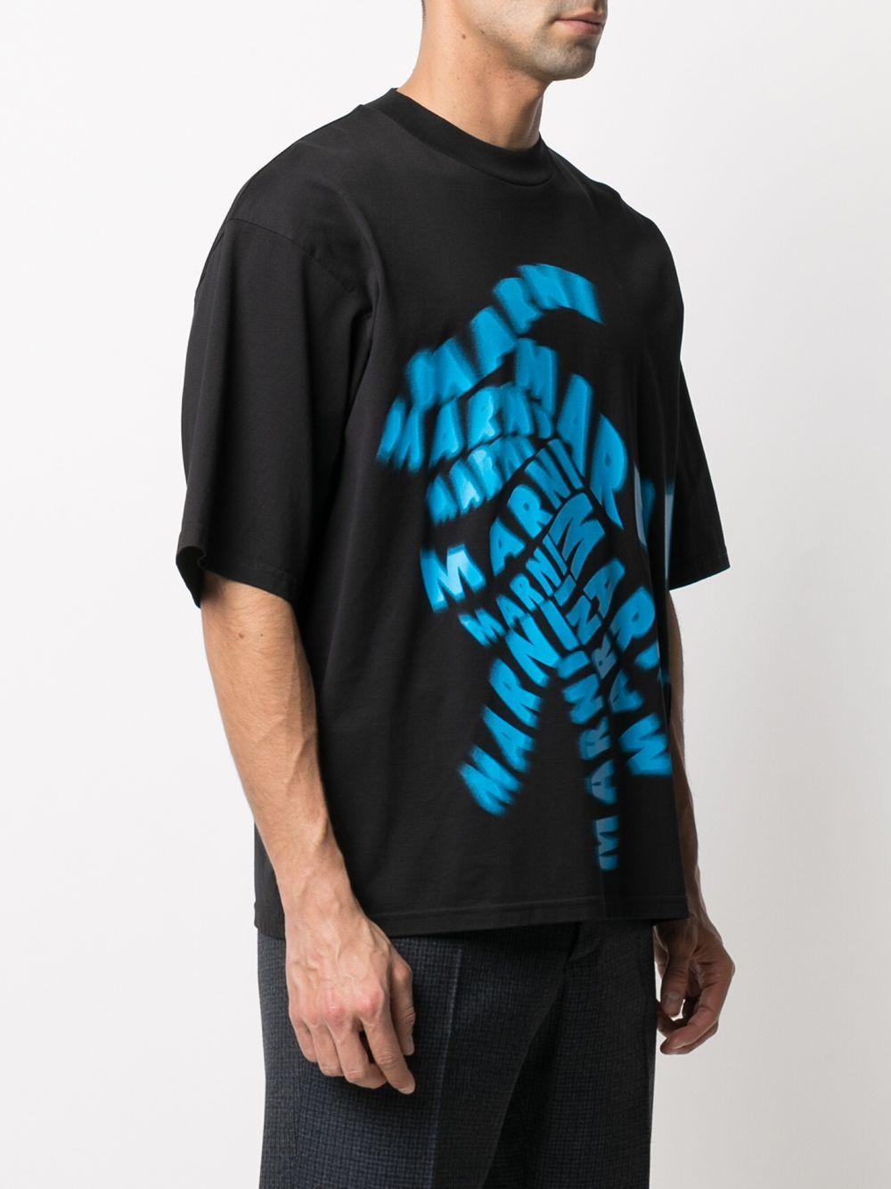 t-shirt with print man black in cotton MARNI | T-shirts | HUMU0229P0 UTC01700N99
