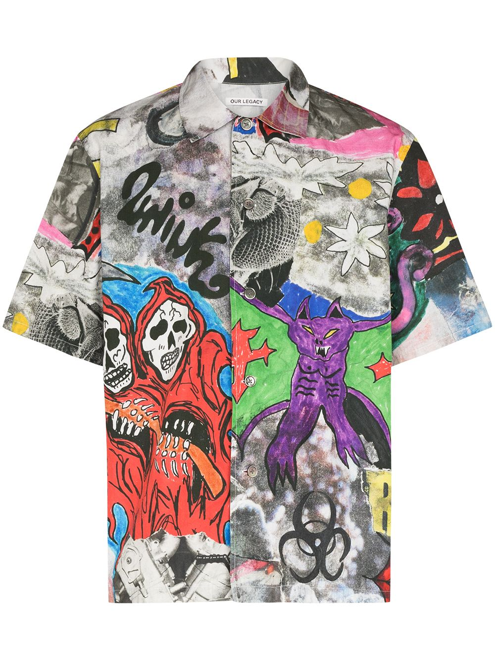 camicia con stampa uomo multicolor in cotone OUR LEGACY   Camicie   M4212BSSKELETRON