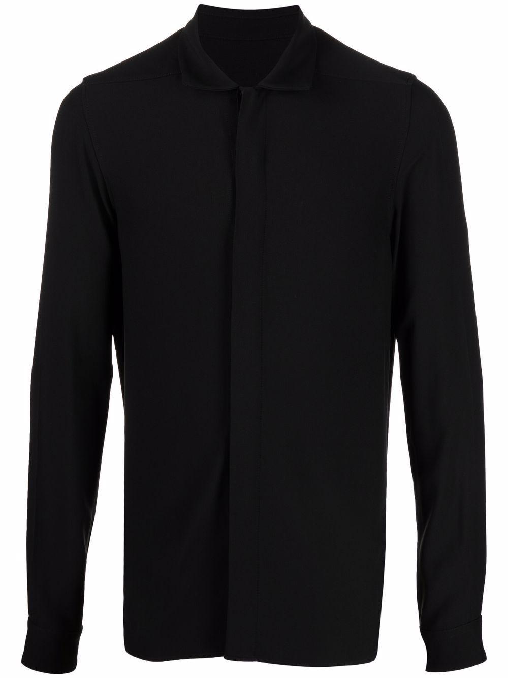 camicia in viscosa uomo nera RICK OWENS | Camicie | RU02A5299 HY09
