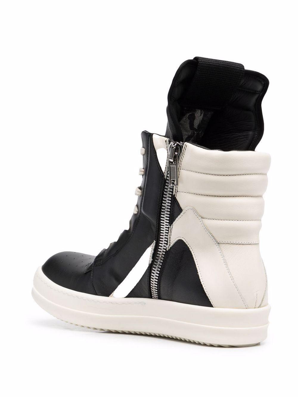 sneakers geobasket man black in leather RICK OWENS   Sneakers   RU02A5894 LPO9111