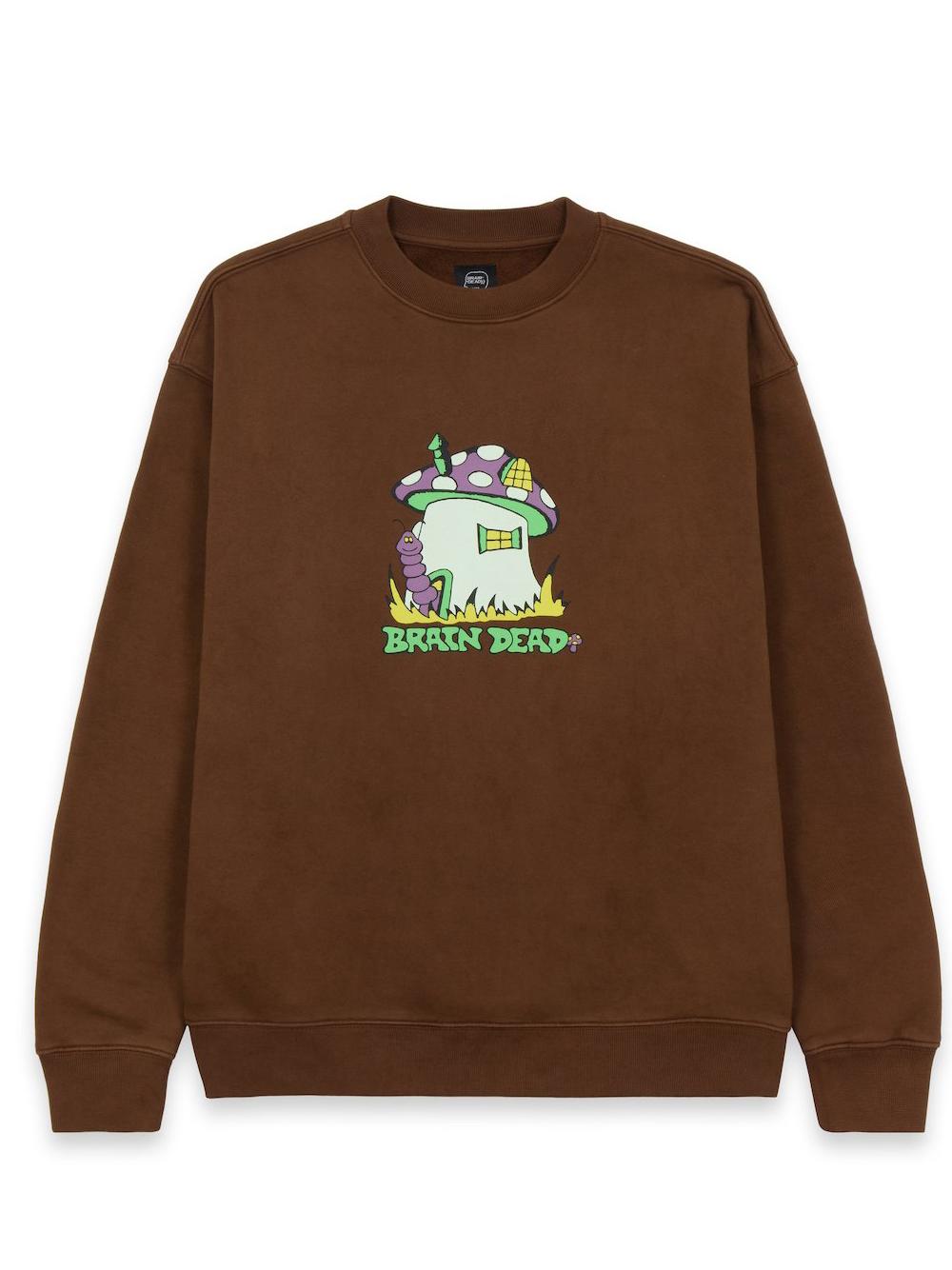 mushroom house crewneck man brown in cotton BRAIN DEAD | Sweaters | F21T10001945BROWN