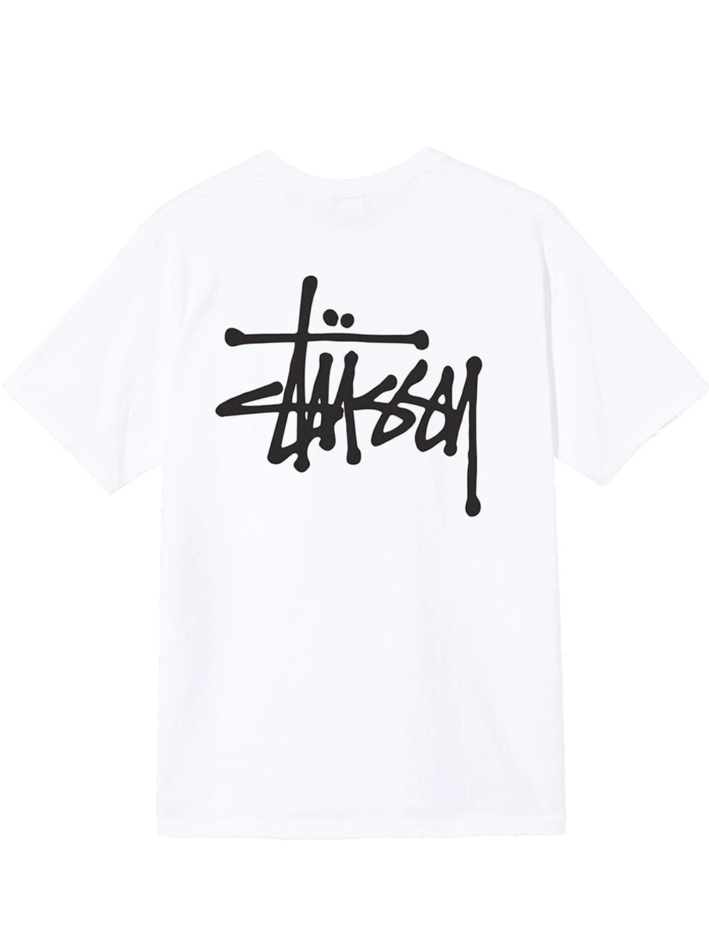 basic t-shirt man white in cotton STUSSY   T-shirts   1904649SWHITE