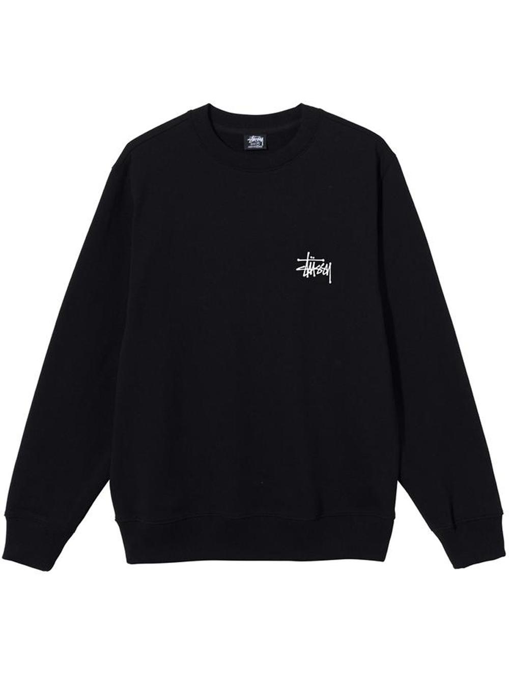 basic stussy crew man black in cotton STUSSY | Sweatshirts | 1914649SBLACK