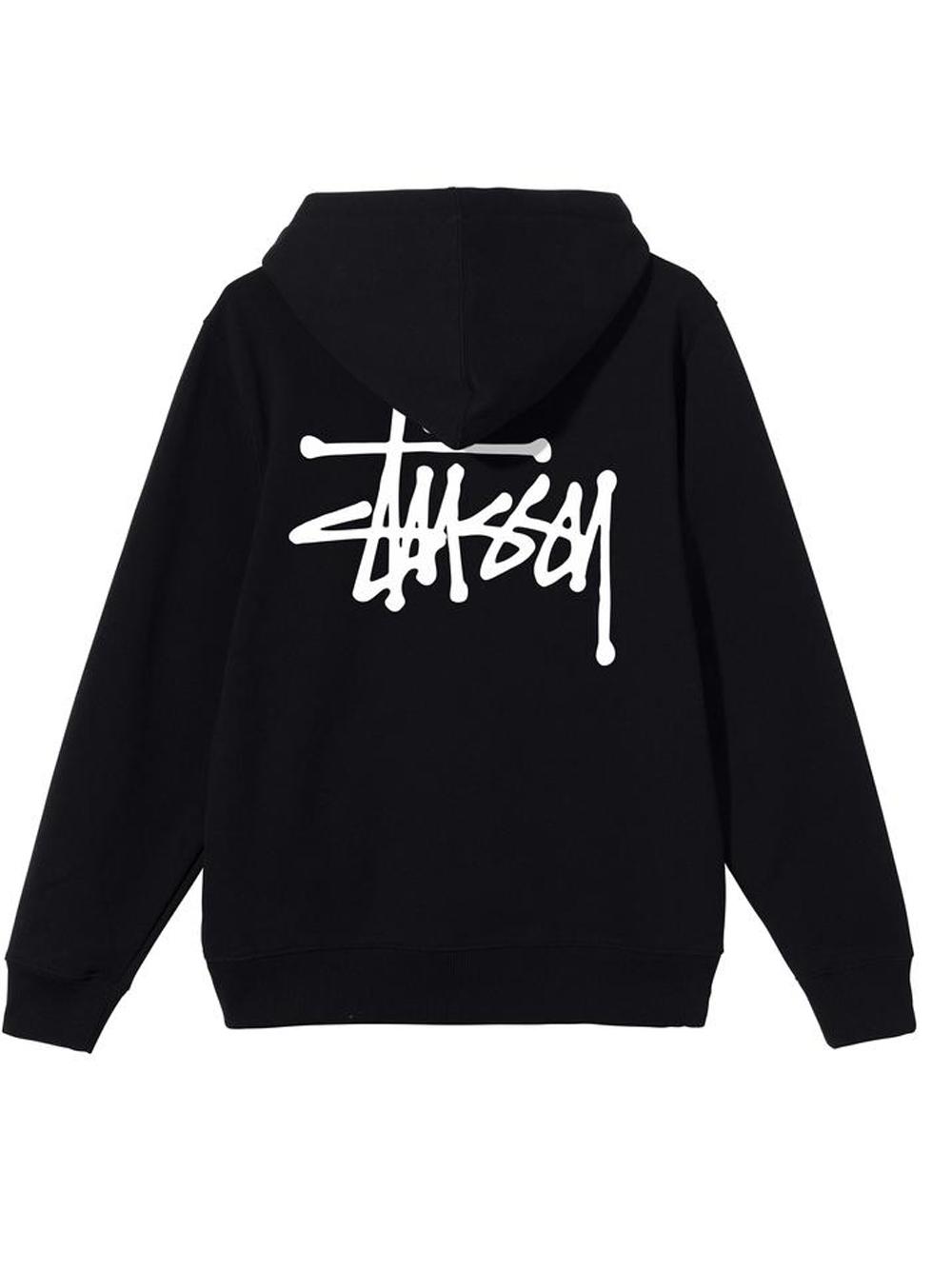 basic stussy hoodie man black in cotton STUSSY   Sweatshirts   1924649SBLACK
