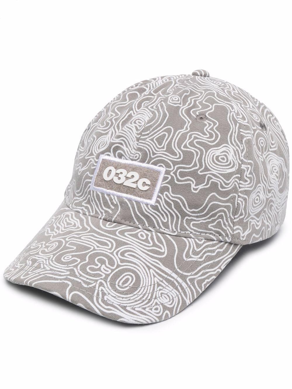 Cappello con logo grigio uomo cotone 032c   Cappelli   SS21-A-0030GREY PURPLE