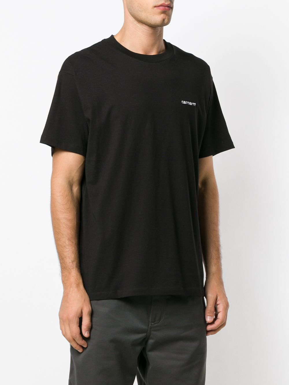Script embroidery t-shirt Black Cotton Man CARHARTT WIP | T-shirts | I02577889.90
