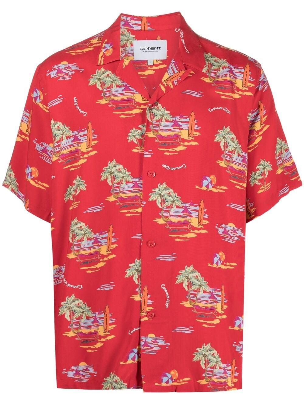 beach shirt man red in cotton CARHARTT WIP | Shirts | I0287950BD.00