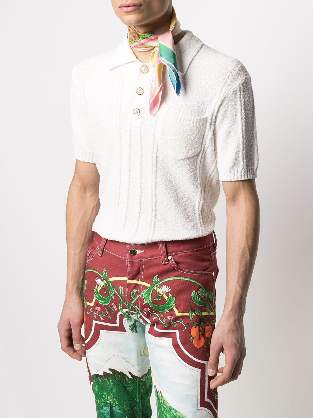 Casablanca sciarpa bandana in seta con stampa grafica uomo CASABLANCA | Sciarpe | AS21-SCARF-003LUCID