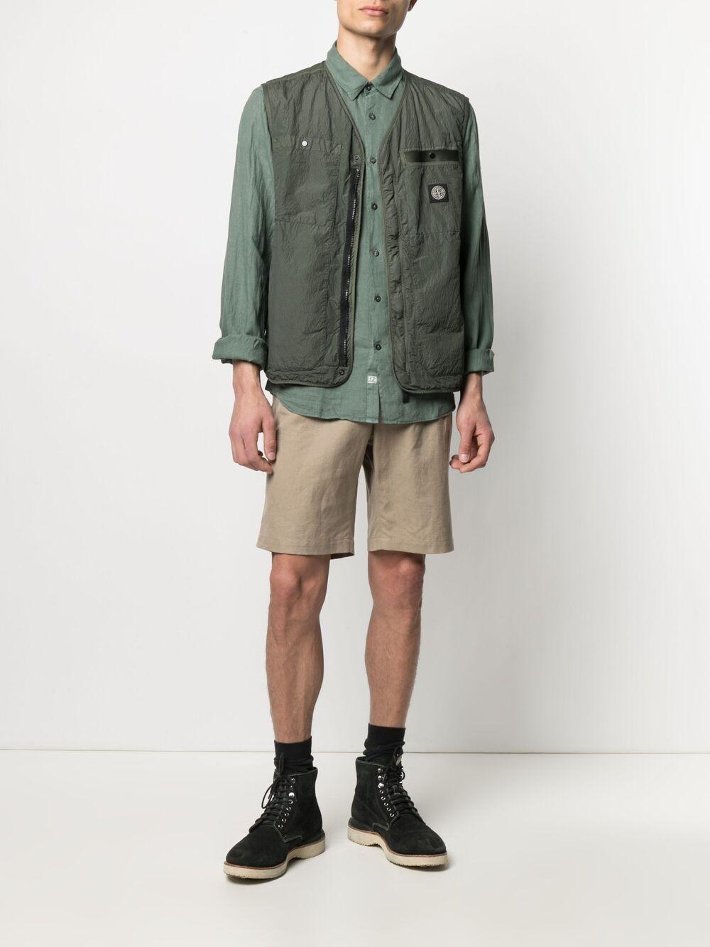 C.p. company camicia in lino con logo ricamato uomo C.P. COMPANY | Camicie | 10CMSH309A005415G668