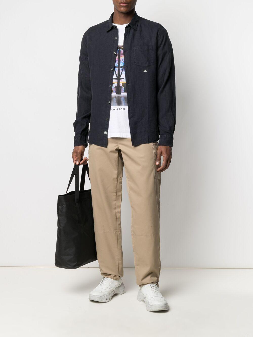 C.p. company camicia in lino con logo ricamato uomo C.P. COMPANY | Camicie | 10CMSH309A005415G888