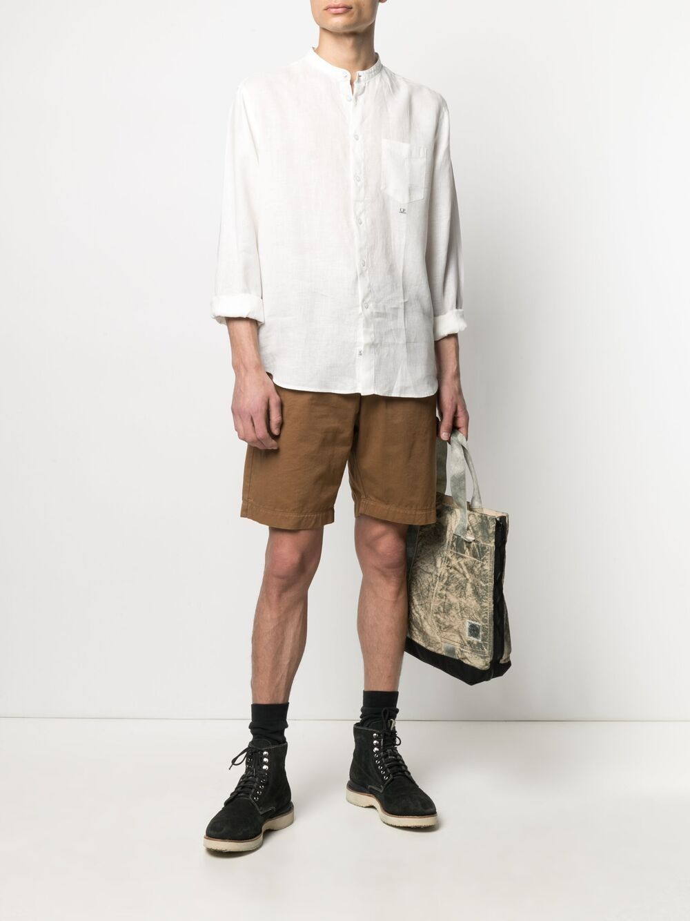 C.P. Company embroidered logo shirt man white C.P. COMPANY | Shirts | 10CMSH311A005415G103