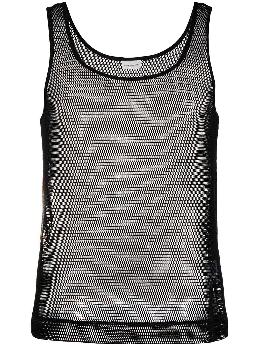 Dries Van Noten canotta in rete di cotone uomo DRIES VAN NOTEN | T-shirt | HALK2616BLACK