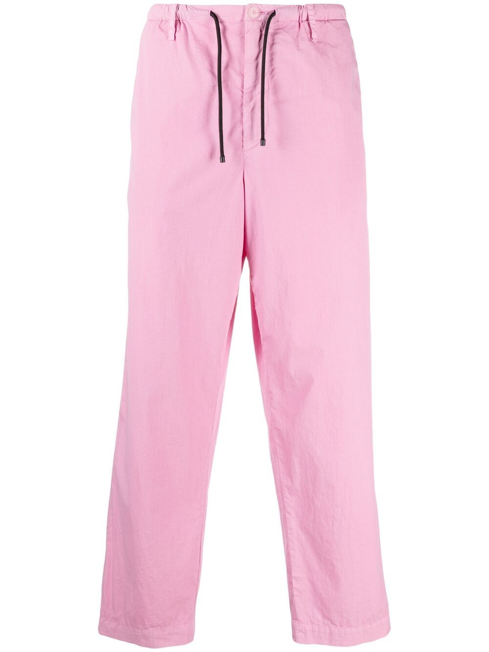 drawstring straight leg trousers man pink cotton DRIES VAN NOTEN | Trousers | PENNY2279PINK