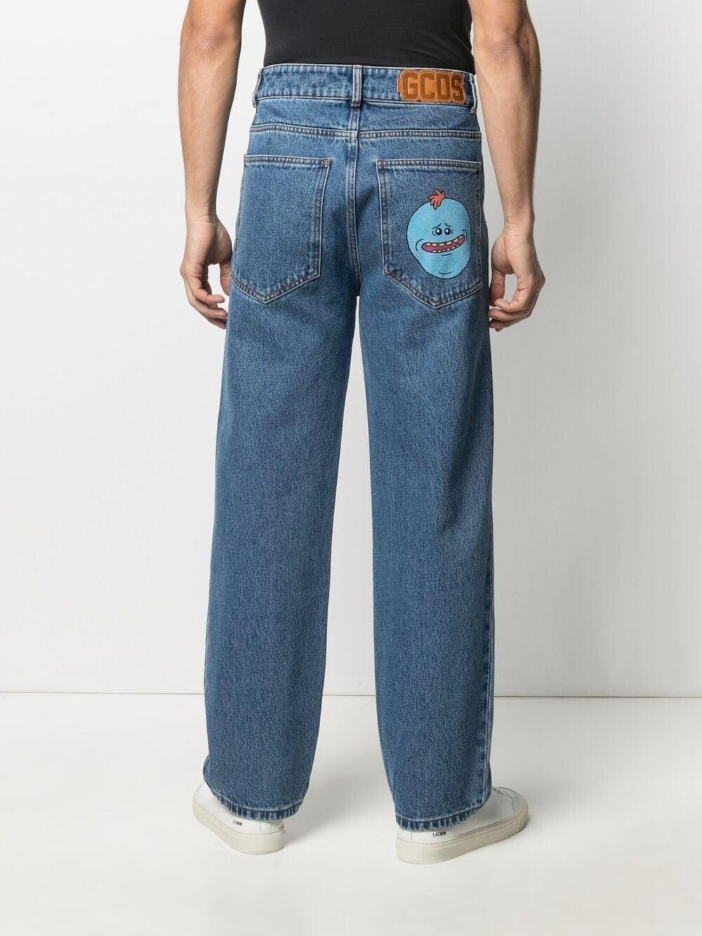 Gcds jeans con stampa uomo denim GCDS | Pantaloni | RM21M03020007