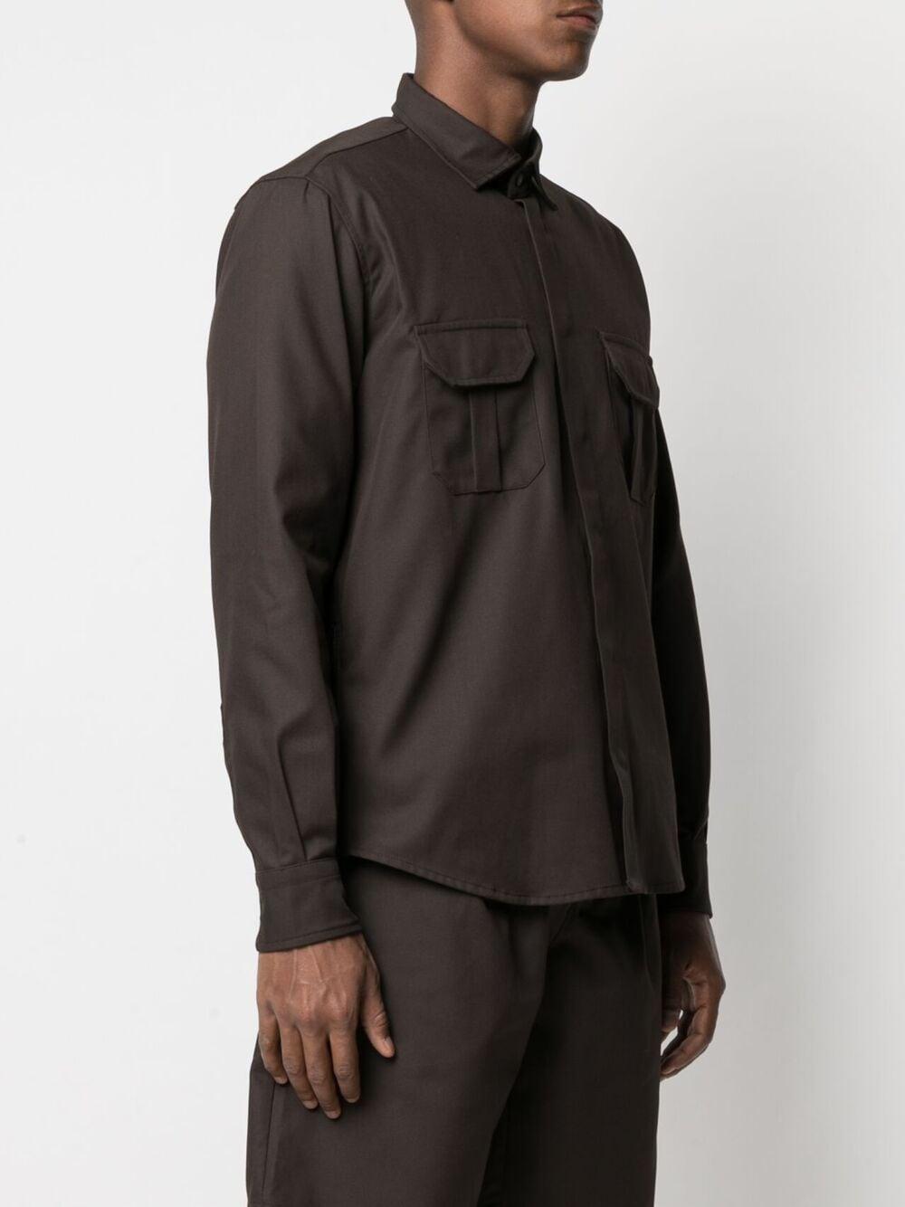 Gr10K camicia a due tasche uomo marrone scuro GR10K | Camicie | GR008SOIL BROWN