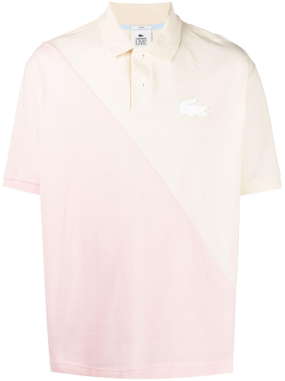 polo bicolore unisex rosa in cotone LACOSTE   Polo   DH1232W31